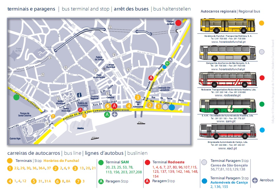Empresas de autobuses y salidas desde Funchal